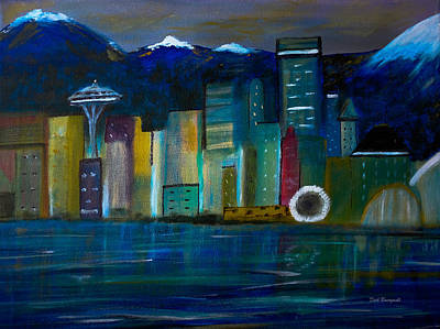 Painting - Seattle Skyiline by Dick Bourgault