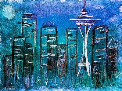 Mixed Media - Seattle Skyline 2 by Melisa Meyers