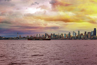 Gaugin Rights Managed Images - Seattle Skyline along Elliott Bay Royalty-Free Image by David Gn