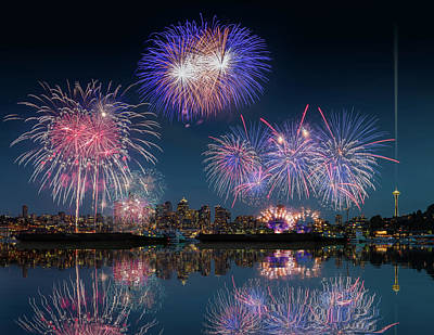Photograph - Seattle Skyline And Fireworks With Reflections by William Lee
