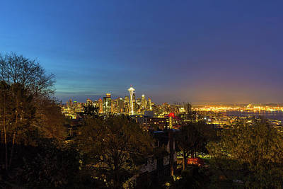 Wall Art - Photograph - Seattle Skyline And Puget Sound Blue Hour by David Gn