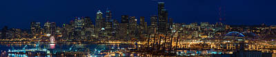 Sunset Photograph - Seattle Skyline At Night From West Seattle by Mike Reid