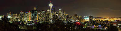 Photograph - Seattle Skyline At Night by Josh Bryant