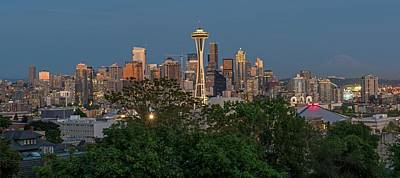 Photograph - Seattle Skyline At Night by Willie Harper