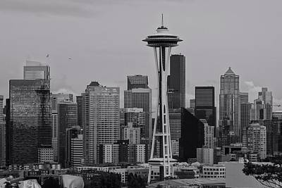 Photograph - Seattle Skyline Black And White by Dan Sproul