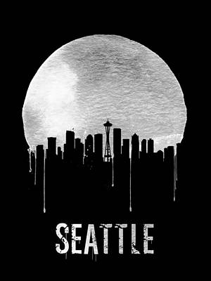 Northwest Digital Art - Seattle Skyline Black by Naxart Studio