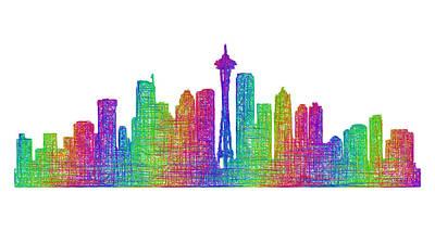 Seattle Skyline Drawing - Seattle Skyline by David Zydd