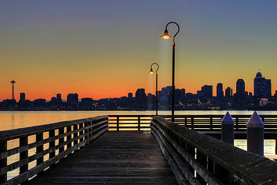 Street Lights Photograph - Seattle Skyline From The Alki Beach Seacrest Park by David Gn Photography