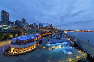 Photograph - Seattle Skyline From The Waterfront At Blue Hour by David Gn