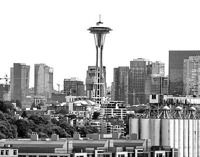 Digital Art - Seattle Skyline Graphic 1 by Greg Sigrist