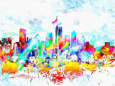 Seattle Skyline Mixed Media - Seattle Skyline Grunge by Daniel Janda