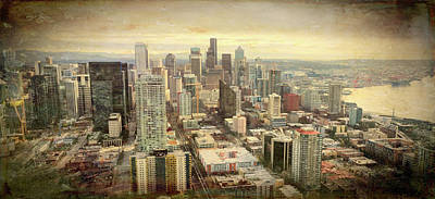 Painting - Seattle Skyline Grunge View  by Cathy Anderson
