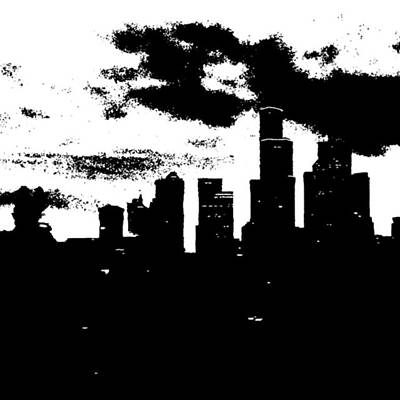 Seattle Skyline In B&w #enlight Art Print