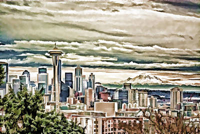 City Scape Painting - Seattle Skyline In Fog And Rain by Elaine Plesser