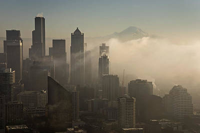 Photograph - Seattle Skyline In The Fog by Inge Riis McDonald