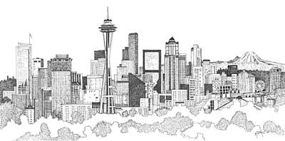 Seattle Skyline Drawing - Seattle Skyline Ink Drawing by Marilyn Smith