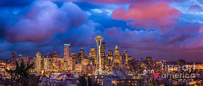 Skylines Royalty-Free and Rights-Managed Images - Seattle Skyline by Jennifer Magallon