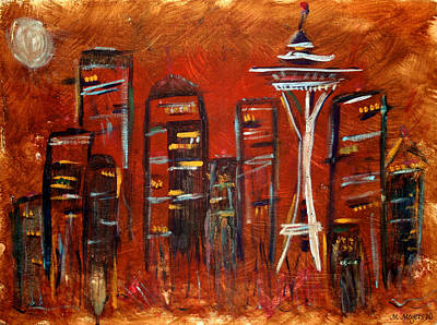 Abstract Skyline Painting - Seattle Skyline by Melisa Meyers