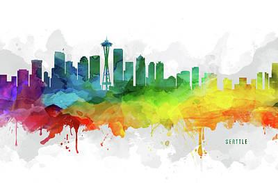 Seattle Skyline Digital Art - Seattle Skyline Mmr-uswase05 by Aged Pixel