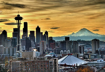 Photograph - Seattle Skyline - Mt Rainier by Greg Sigrist
