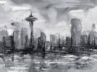Washington State Painting - Seattle Skyline Painting Watercolor  by Olga Shvartsur