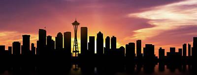 Seattle Skyline Wall Art - Photograph - Seattle Skyline Panorama Sunset by Aged Pixel