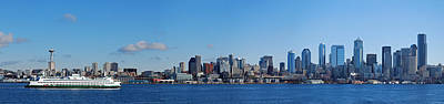 Puget Sound Photograph - Seattle Skyline Panorama by Twenty Two North Photography