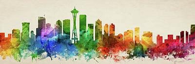 Seattle Skyline Digital Art - Seattle Skyline Panorama Uswase-pa03 by Aged Pixel