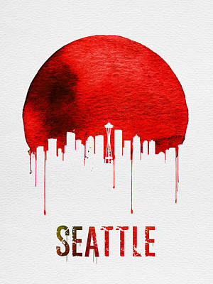 Northwest Digital Art - Seattle Skyline Red by Naxart Studio