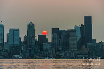 Skylines Royalty-Free and Rights-Managed Images - Seattle Skyline Red Sunrise by Mike Reid