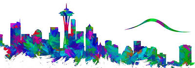 Abstract Skyline Digital Art Rights Managed Images - Seattle Skyline Silhouette Abstract I Royalty-Free Image by Ricky Barnard