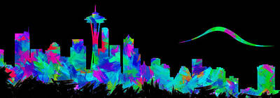 Abstract Skyline Digital Art Rights Managed Images - Seattle Skyline Silhouette Abstract II Royalty-Free Image by Ricky Barnard
