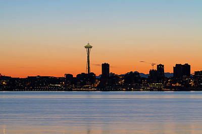 Photograph - Seattle Skyline Silhouette At Sunrise by David Gn