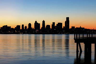 Photograph - Seattle Skyline Silhouette At Sunrise From The Pier by David Gn
