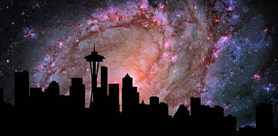Abstract Skyline Digital Art Rights Managed Images - Seattle Skyline Silhouette Galaxy Royalty-Free Image by Ricky Barnard