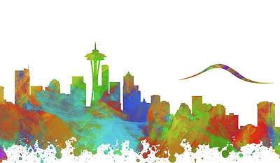 Abstract Skyline Digital Art Rights Managed Images - Seattle Skyline Silhouette III Royalty-Free Image by Ricky Barnard
