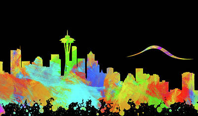 Abstract Skyline Digital Art Rights Managed Images - Seattle Skyline Silhouette IV Royalty-Free Image by Ricky Barnard