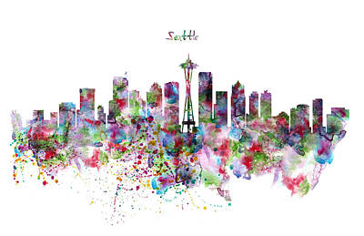 Seattle Skyline Silhouette Art Print by Marian Voicu