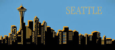 Seattle Skyline Silhouette Pop Art Art Print