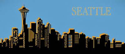 Skylines Mixed Media - Seattle Skyline Silhouette Pop Art by Dan Sproul