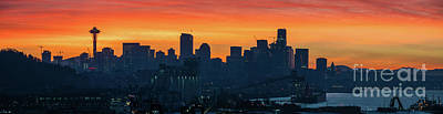 Skylines Royalty-Free and Rights-Managed Images - Seattle Skyline Skies On Fire by Mike Reid