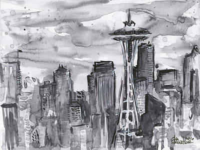Black And White Art Painting - Seattle Skyline Space Needle by Olga Shvartsur