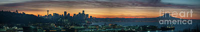Skylines Royalty-Free and Rights-Managed Images - Seattle Skyline Sunrise Pano with a Lenticular Cloud on Rainier by Mike Reid