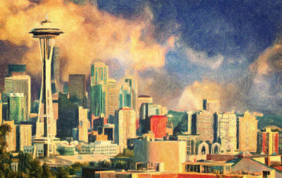 Famous Hotel Painting - Seattle Skyline by Taylan Apukovska