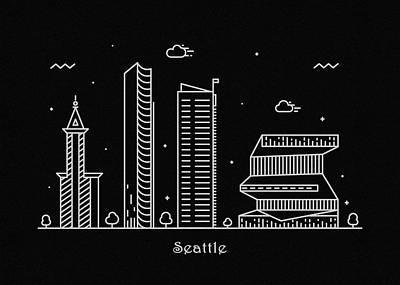 Drawing - Seattle Skyline Travel Poster by Inspirowl Design