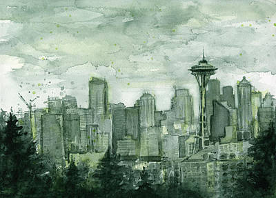 Skyline Painting - Seattle Skyline Watercolor Space Needle by Olga Shvartsur