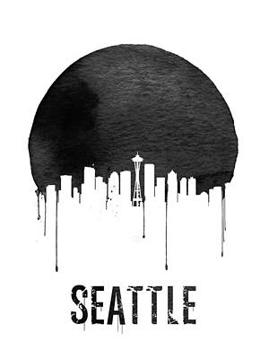 Northwest Digital Art - Seattle Skyline White by Naxart Studio