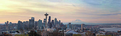 Wall Art - Photograph - Seattle Skyline With Mount Rainier During Sunrise Panorama by David Gn