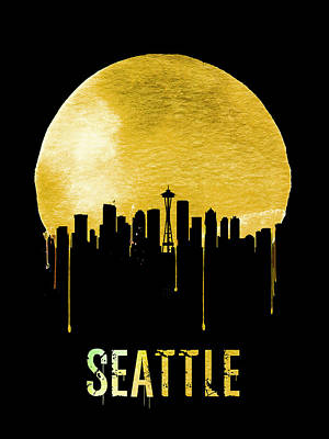 Northwest Digital Art - Seattle Skyline Yellow by Naxart Studio
