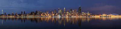 Vancouver At Night Photograph - Seattle Skyline Panorama by Wesley Allen Shaw